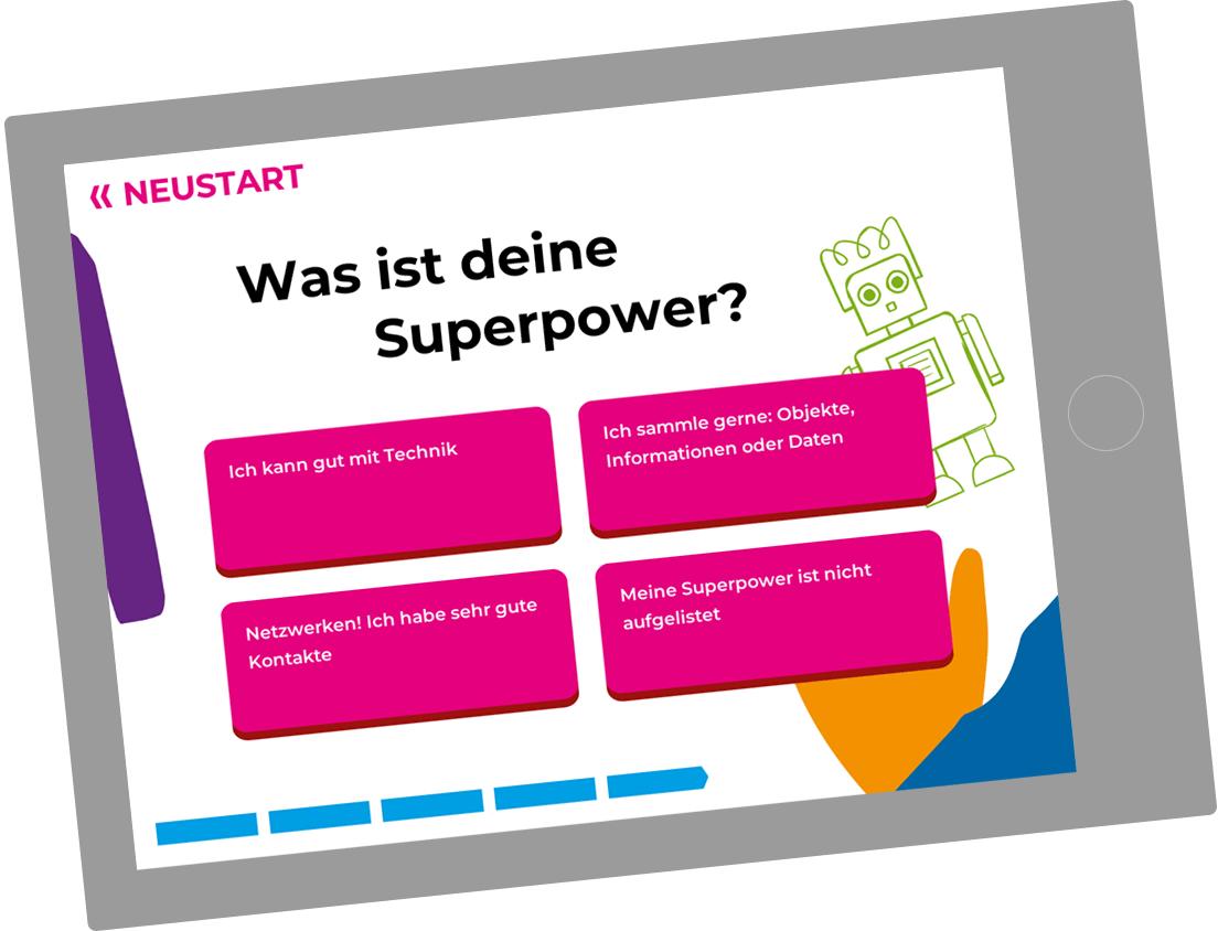Bildschirmfoto des Quiz 'Was ist deine Superpower?'