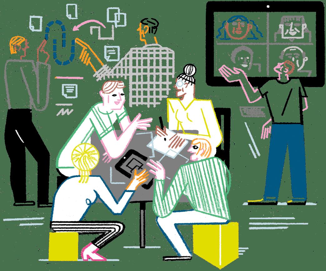 Eine Illustration von Menschen, die mit digitalen Tools in Teams zusammen arbeiten.