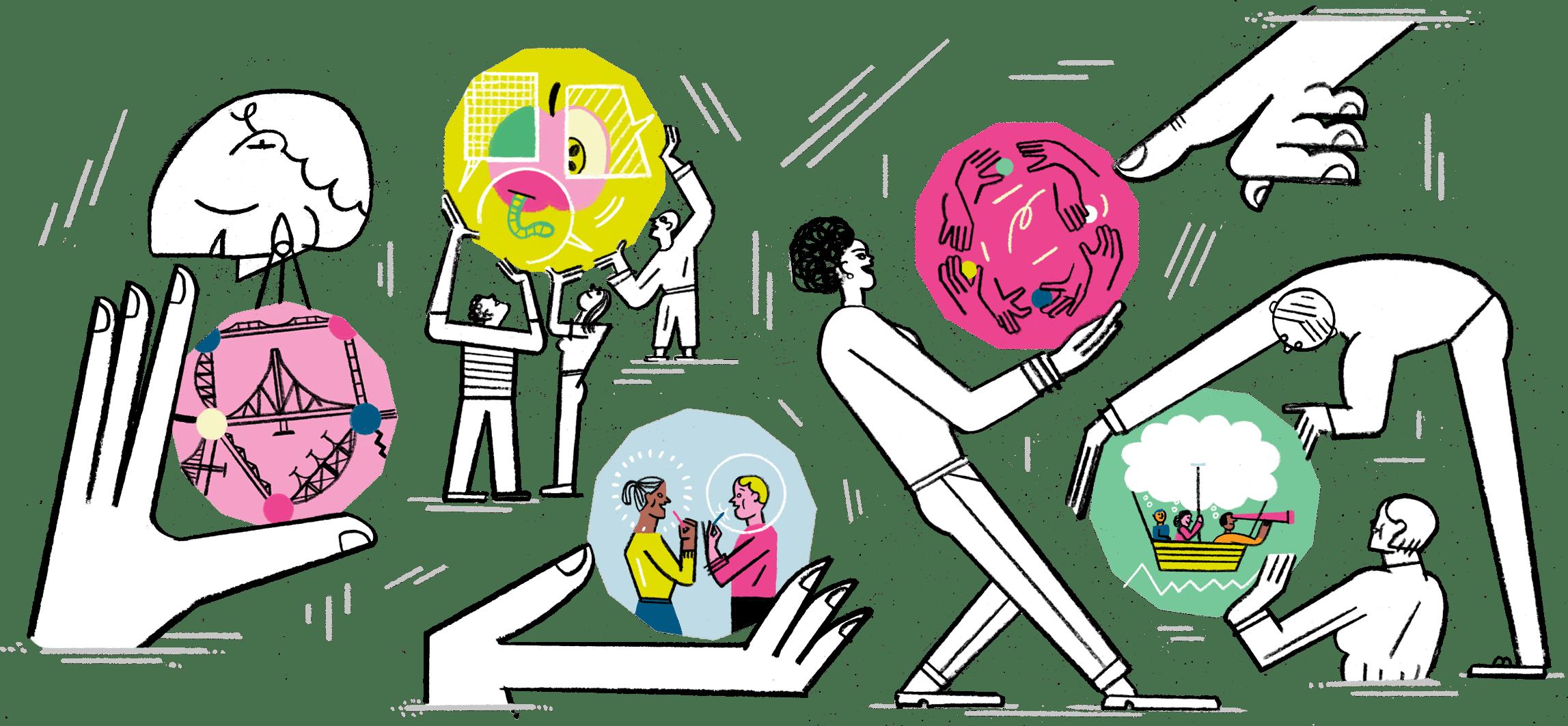 Illustration von Menschen, die mit den Themenfeldern des Accelerators spielen