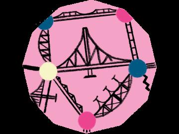 Illustration von Brücken, die miteinander verbunden sind