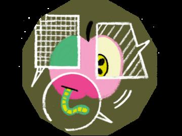 Illustration eines Apfels, der in Sprechblasen unterschiedlich beschrieben wird