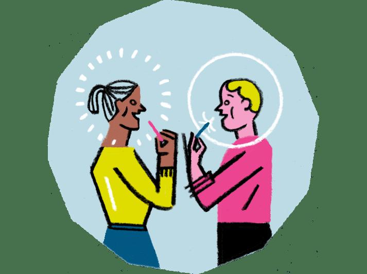 Illustration von Menschen die miteinander sprechen und die Blasen, die sie umgeben, zum Platzen bringen