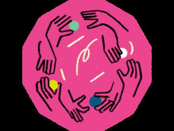 Illustration von Händen, die Bälle witerreichen
