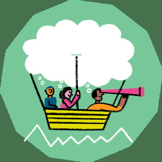 Illustration von Menschen in einem Heißluftballon, der von einer Wolke getragen wird