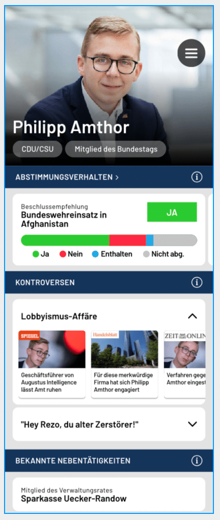 Screenshot from the 2020 prototype of the Face the Facts app which was developed during the UNLOCK Accelerator 2020. It shows information on politician Philipp Amthor.