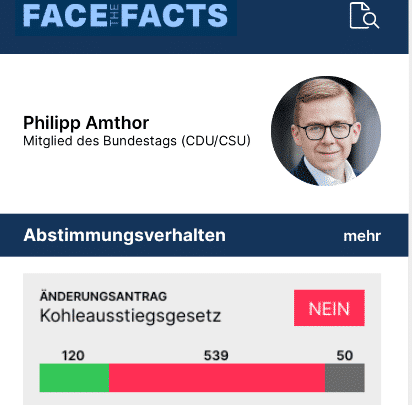 Screenshot from the 2020 prototype of the Face the Facts app which was developed during the UNLOCK Accelerator 2020. It shows information on politician Philipp Amthor