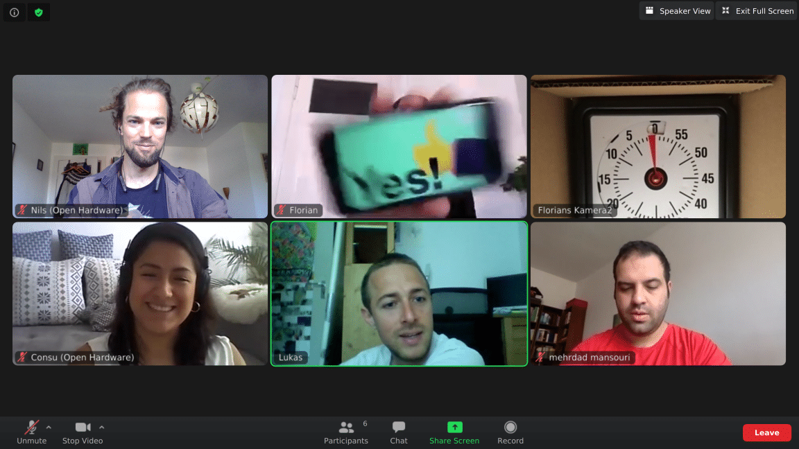 """Team photot of an online meeting of """"Open Source Hardware"""", participants of the UNLOCK Accelerator 2020"""