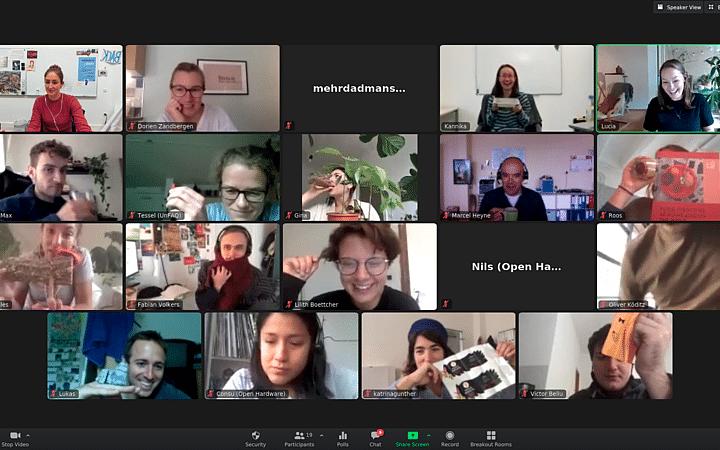 Screenshot of UNLOCK participants doing an online energizer